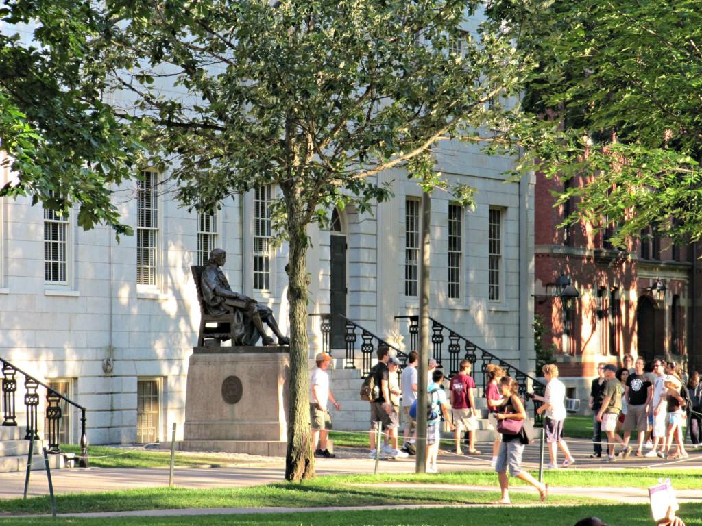 Harvard Yard with the John Harvard statue
