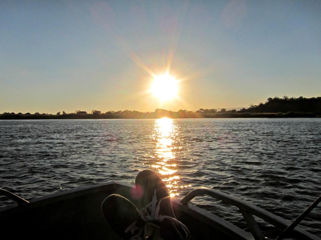 Watching the sunset over the Zambezi