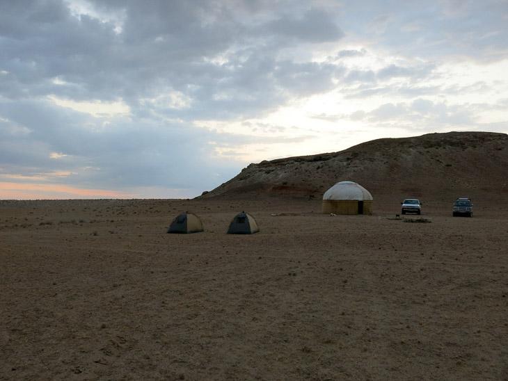 Darvaza crater campsite Turkmenistan