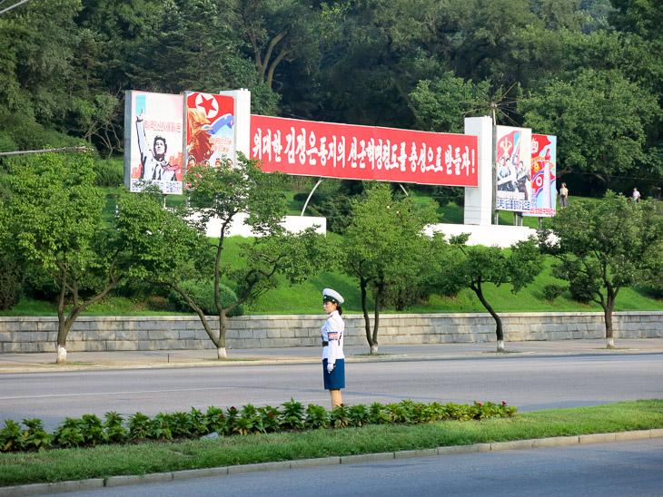 North Korea Pyongyang traffic lady