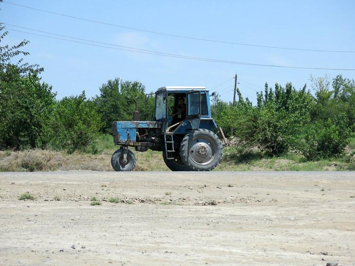 Tractor cotton field Turkmenistan