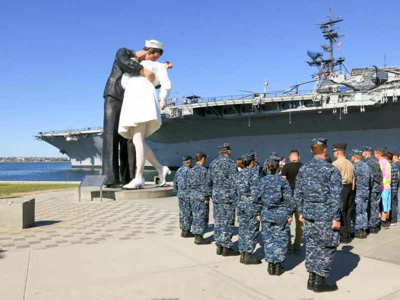 Travel San Diego California USA USS Midway Unconditional Surrender Kiss Statue